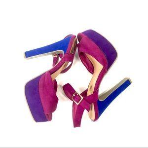 Olsenboye Shoes - Fushia royal blue 80's block platform sandal heel